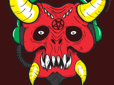 Dj Elzebub Illustration WIP devil satan beelzebub dj demon vector illustration wip