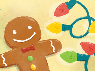 Gingerbread Man & Lights bread ginger cookie illustration holidays christmas lights man gingerbread