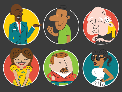 Illustrations of some People diversity people 60s illustration