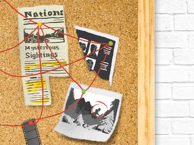 Bigfoot Conspiracy digital illustration illustration photo newspaper clippings bulletin board yarn bigfoot conspiracy