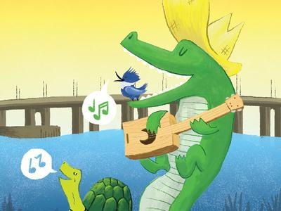 River Ruckus 17 Illustration ruckus river turtle illustration gator