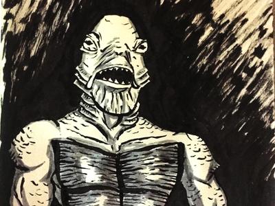 Gillman - Inktober Entry illustration marker black lagoon creature underwater inktober2017 inktober gillman