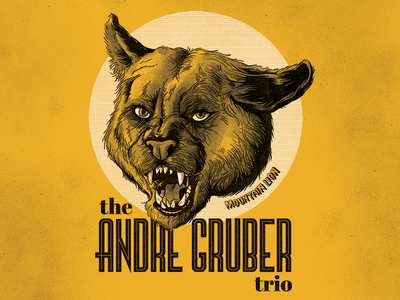 The Andre Gruber Trio Merch Illustration mountain lion` album cover jazz halftone illustration