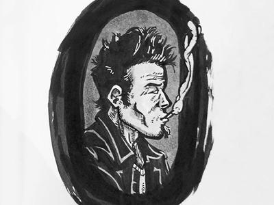 Tom Waits Portrait - Ink Illustration waits tom portrait sketch daily ink illustration