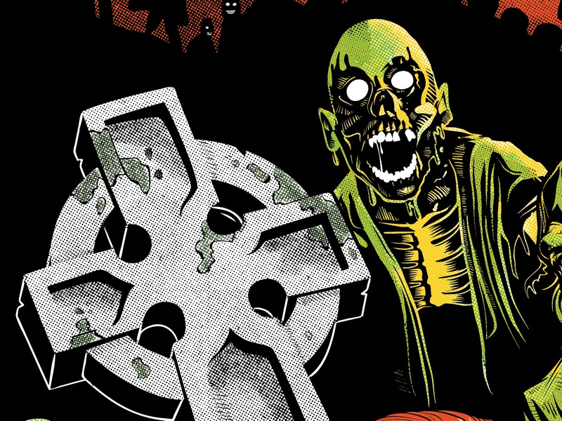 Return of the Living Dead Poster (WIP) halftone grave dead graveyard livingdead zombies screen print movie poster poster illustration