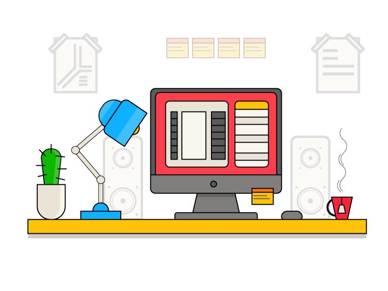 Designer table workspace workplace vector table photo illustration flat edit designer character camera
