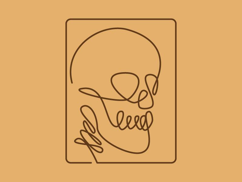 Line Art - Skull one line art illustration