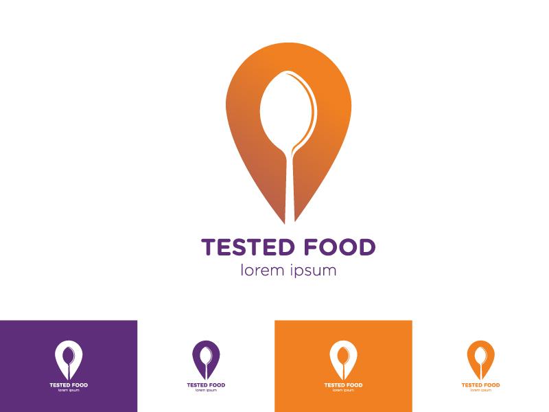 Tested Food Logo tested cafe logo flat design flat icon vector illustration