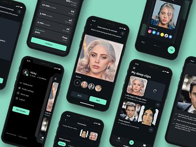 DeepClip - Mobile app face clip share business saas subscribtion platform video figma ux ui order ios application service mobile photo replace entertainment