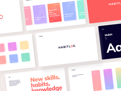 Habitlog - Visual Guidelines color palette gradients icon ux ui logo brandbook graphics branding visual font brand app identity guidelines design typography manual arounda type