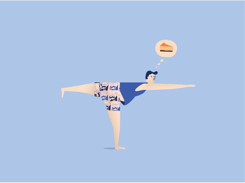 Yoga Real Thoughts illustration art fashion illustration lifestlye healthy guy fashion cheesecake mental health yoga thoughts yoga pose yoga