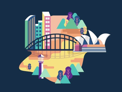 Sydney City  malaysia map airlines solo traveller tourist explore bridge travel australia illustration sydney