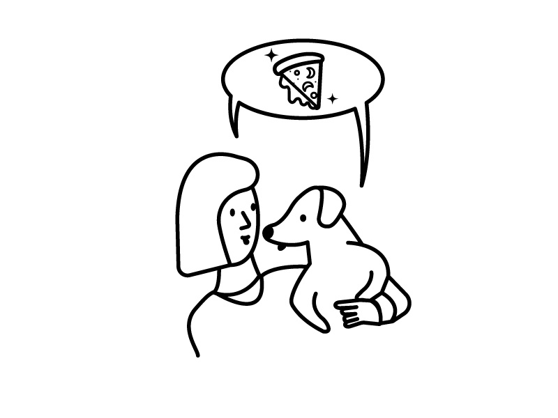 thank dog we have something in common gifts animal girl characters line illustration malaysia pizza dogs
