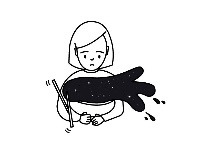 Not again spill mental health anxiety illustration girl