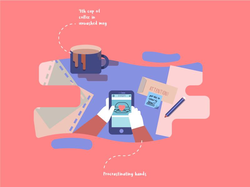 Procrastinating hands - wip paperwork office work desk coffee malaysia productivity work illustration procrastinate