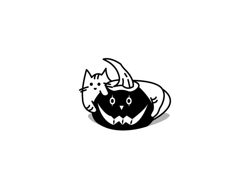 Happy Halloween 2017 line illustration pumpkin cats happy halloween