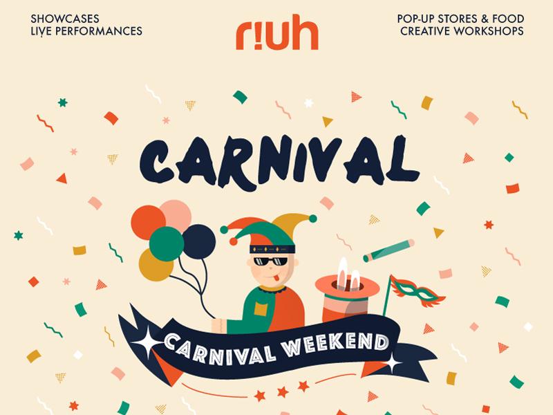 Carnival Event Poster malaysia celebration festival balloons magician jester clown carnival