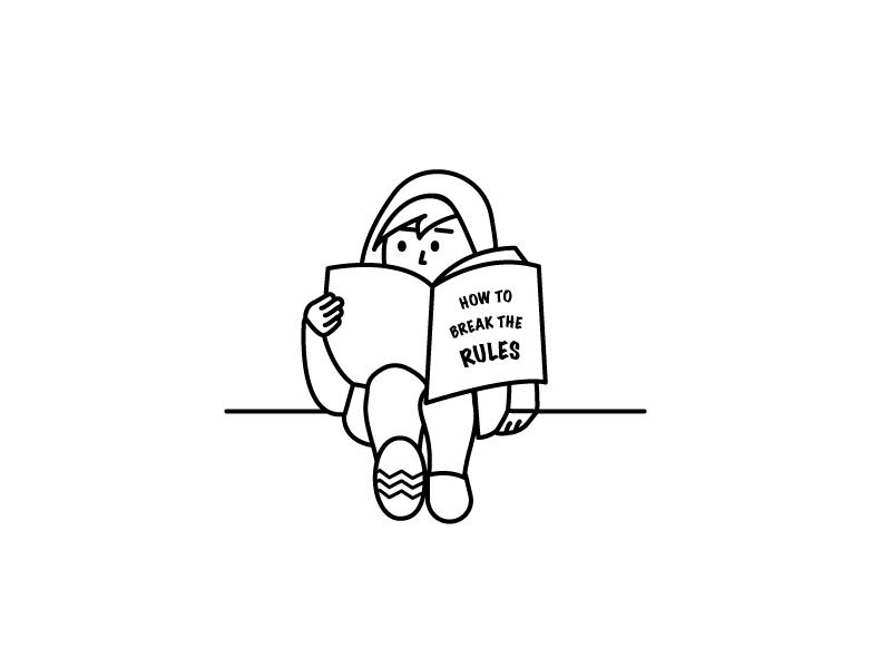Rebellious Reading reading girl illustration character design rebel