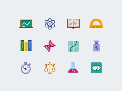 Science trigonometry physics class chemistry biotech library science flat icons vector icons icons icon