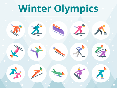 Winter Olympics design tools ux ui graphic design winter 2018 pyeongchang olympics olympic games sport flat icons icons icon