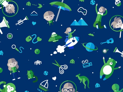 Icons animal character pattern blue green icon icons
