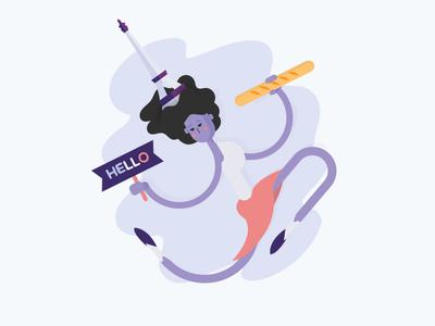 Illustration france woman illustration character avatar