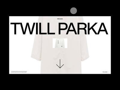 Prada branding clean website art direction typogaphy modern web design design ux ui