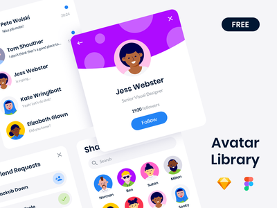 Free Avatar Library profile ui photo symbol illustration vector woman man face freebie assets animation lottie drawer create figma sketch library avatar free
