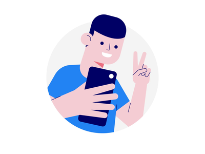 Seed Round Animation startup flat app product web brand landing ui character smile hand peace photo selfie man vector illustration animation lottie drawer
