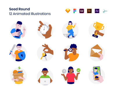 Seed Round Animations hand product landing mobile protection vpn search envelope watch win move scroll trophy password selfie assets drawer vector animation lottie
