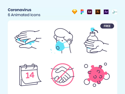 Coronavirus Icons icon vector breath assets free quarantine contact drawer animation lottie calendar spread virus soap mask face washing hands covid-19 coronavirus