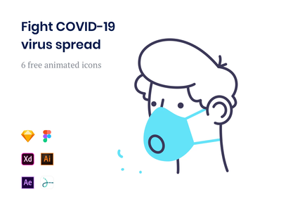 Free Coronavirus Icons assets quarantine fight brand line vector drawer lottie animated animation icons free breath mask face spread covid-19 virus coronavirus corona