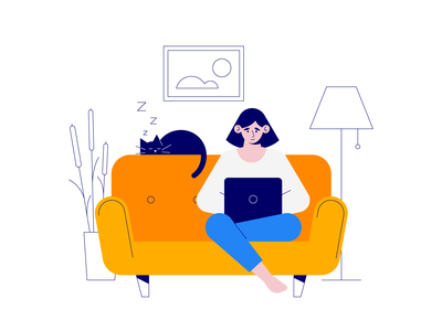 New Set coming soon! product landing lottie animation working sleep home couch work cat covid remote illustration vector drawer