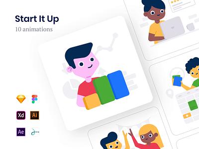 Start It Up Animations assets branding vector web landing product data schedule teamwork team review analytics lottie freebie kit ui drawer illustration animation startup