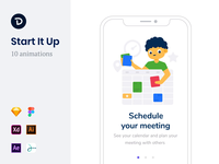 Start It Up Animations girl person meeting report assets startup feedback product analyze data schedule design app illustration animation lottie onboarding mobile ui drawer