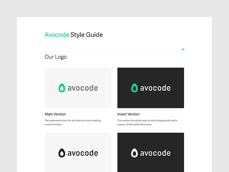 Avocode Style Guide guideline guide style brand logo avocode