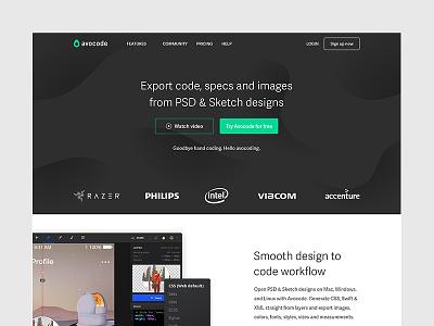 Avocode Home Page code landing page homepage brand rebrand redesign green white black avocode