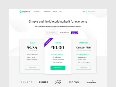 Avocode Pricing Page page web typography green white black code brand pricing avocode