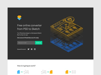 Converter Teaser Page landing black animation avocode page teaser converter design sketch psd