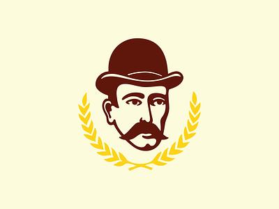 Panko Mini-Brewery Logo brand branding head hat mustache yellow bottle wheat symbol logo gentleman beer