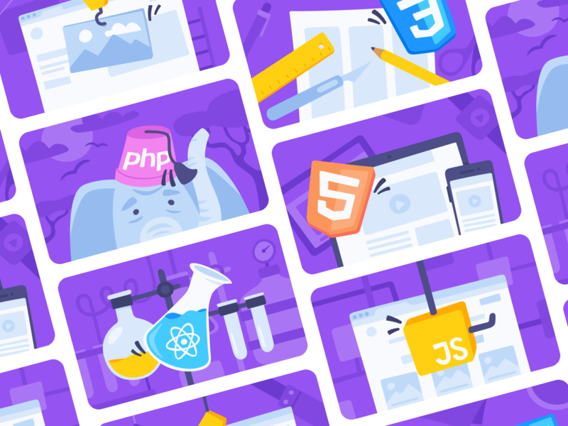Banner Images - Purple ui vector branding react php javascript design web css html mimo programming learn coding app code illustration banner