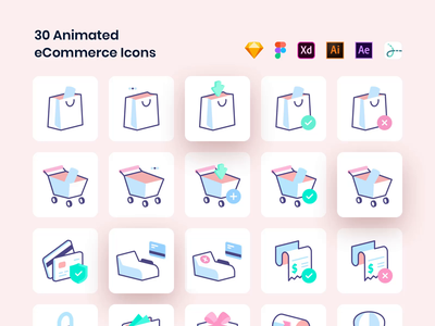 Essential eCommerce Icons payment invoice card cart shopping bag product market illustration vector brand drawer eshop app animated lottie animation set icons ecommerce