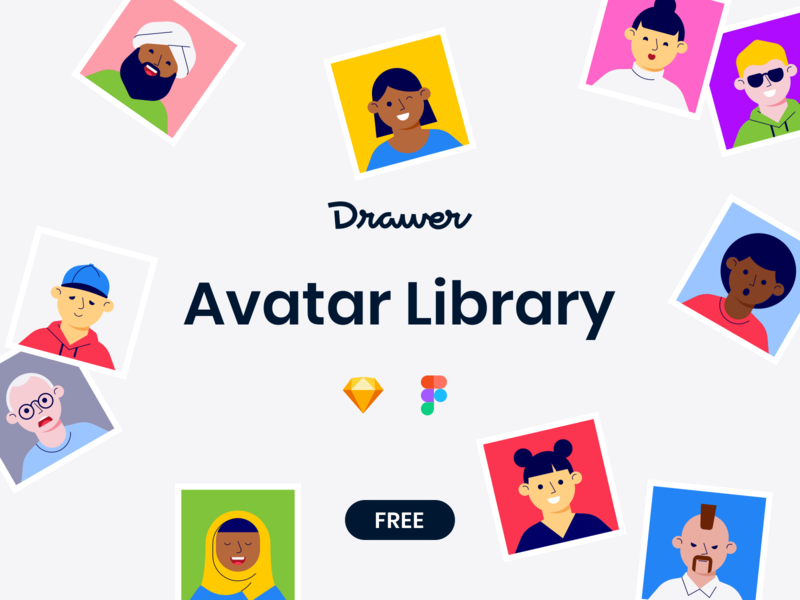 Avatar Library components symbols app mobile ui photo account illustration lottie social face vector freebie assets free figma sketch library drawer avatar