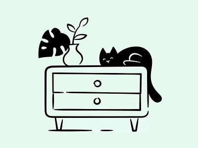 Cat animation assets store product interaction website illustration brand landing ui files hand drawn vector lottie sock black furniture animation flower cat drawer