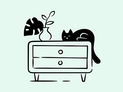 Cat animation assets store product interaction website illustration brand landing ui files hand drawn vector lottie sock black furniture animation flower cat drawer
