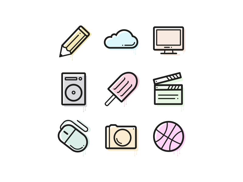 WIP - Icon set pastel fade identity colour design rebrand set icon branding