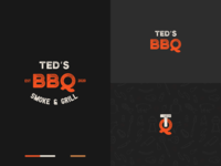 Ted's BBQ flat simple logo design food channel cooking branding ted logo bbq