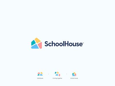 SchoolHouse Logo brand school logo school website flat branding design simple modern icon logo abstract