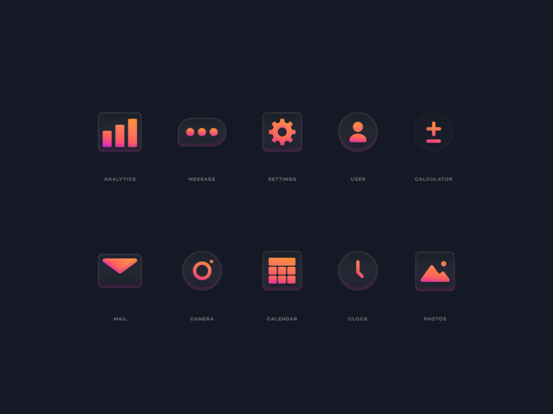 Glass Icons illustration design branding icon icons pack icons iconset gradient abstract simple modern blur glass