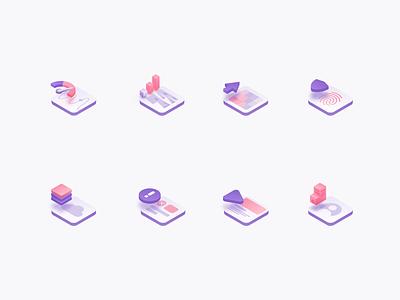 Isometric Icons tech modern illustration design simple icon set icons isometric